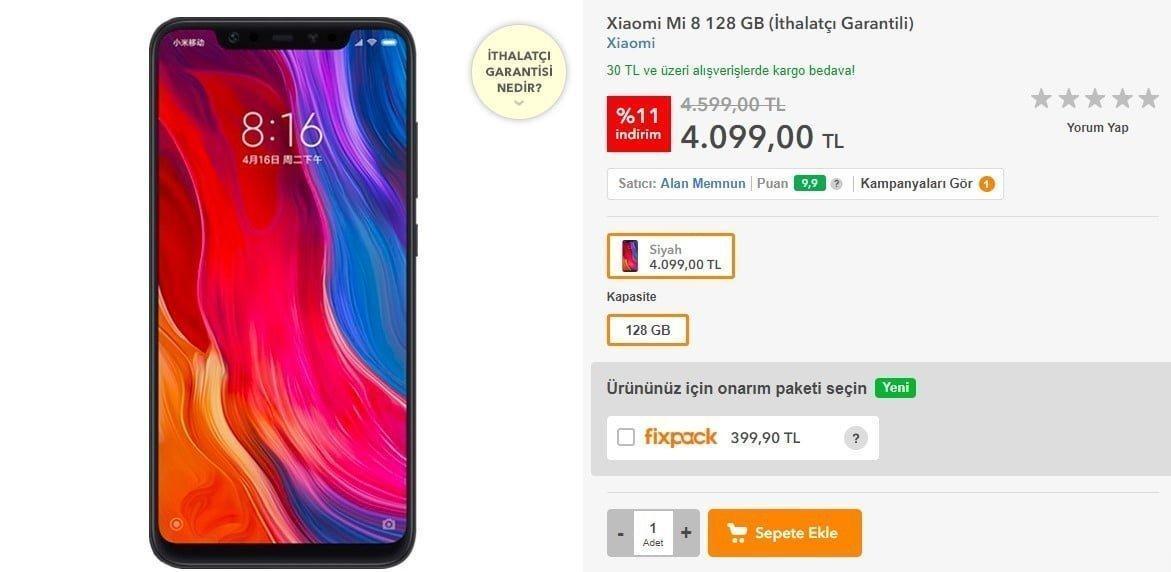 Xiaomi Mi8 Hepsiburada'da satışa sunuldu!