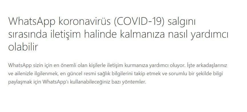 WhatsApp'tan Coronavirus hamlesi!
