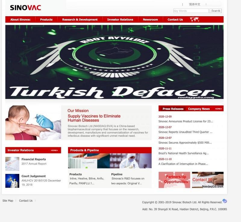 Türk Hacker'lar Sinovac'ın İnternet Sitesini Hackledi